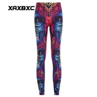 Wholesale sexy yoga pants - 2017 NEW Halloween Rainbow Skull Monkey Prints Sexy Girl Pencil Yoga Pants GYM Fitness Workout Polyester Women Leggings Plus Size