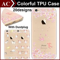 Wholesale Cartoon Flower Drawings - Colored Drawing Cute Cartoon Flower Girl Painting Clear Soft TPU Case With Dustplug For iPhone 5 5S SE 6 6S Plus Ultrathin Back Cover Skin
