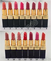 Wholesale Different Coloured Lipsticks - DHL New Makeup Rouge Ultra Hydrating Lip Colour Matte Lipstick Lettering Logo Lipstick Have 15 Different Colors 3.5g