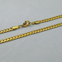 Wholesale 4mm Gold Chain - KT Stainless steel jewelry classic style jewelry chain NK gold, steel color unisex necklace width: 4mm Length: 60cm Weight: 14g