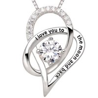 """Wholesale Crystal Christmas Boxes - New Box Chain Link Jewelry For Woman Men Silver """"I Love You To The Moon and Back"""" Love Heart Pendant Necklace Christmas Gift Freeshipping"""