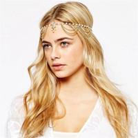 hint saç zinciri takı toptan satış-Headpieces Moda Boho Kadınlar Hint Alın Metal Kafa Zincir Takı Kafa Bandı Parti Kafa Adet Saç bandı Takı Başkanı Zincir Boncuklu Takı