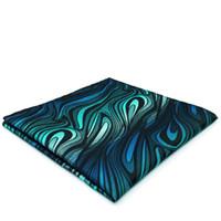 Wholesale Green Silk Handkerchief - YH17 Geometric Striped Indigo Turquoise Brand New Fashion Pocket Square Jacquard Woven Handkerchief