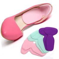 Wholesale Heels T Shape - Silicone High Heel Shoe Insoles Cushion Pad T-Shape Anti-slip Gel Heel Liner Grip Shoe Insert Foot Care Protector Color Randomly