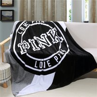 Wholesale Pink Knit Throw Blanket - Wholesale- V brand new love pink victorie black fleece blanket super soft blanket on the bed throw