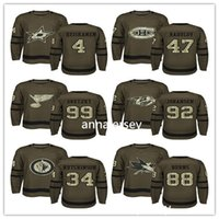 Wholesale Embroidery Services - 2017 New Hockey Green Salute to Service Jersey 92 Ryan Johansen 34 Hutchinson 88 Brent Burns 4 Heiskanen 100% Stitched Embroidery Logos Hock