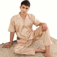 Wholesale Xxl Pajamas Men - Wholesale-2016 Summer Solid Men Silk Pajamas Set New Leisure Male Short Sleeves Nightgowns Pajamas Red,Champagne Burgundy L,XL,XXL,XXXL