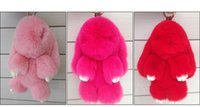 Wholesale Trinket Accessories - oft Rabbit Fur Key chain Fur POMpom Keychain Rabbit Pendant Key ring Trinket Women Bag Charm Accessories