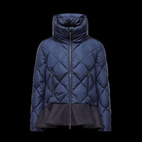Wholesale Women S Down Filled Coat - High quality female down jacket Fill the white duck down Hem wave fold Collar fill silk cotton Dark blue women's coat