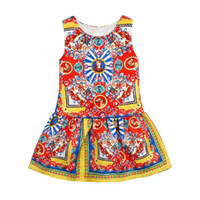 Wholesale high trade - High Quality spring ang autumn Foreign Trade New Pattern Explosion Catholicism Printing Girl Summer Dress European