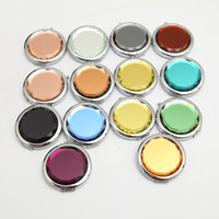 Wholesale Double Side Gift Mirror - Metal Pocket Mirror Makeup Fold Round Crystal Compact Mirror Portable Cute Metal Double Side Mirror Wedding Gifts 12Color