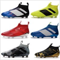 2017 Vente en gros ACE 16+ PureControl FG Men Soccer Chaussures Bottes Slip-On Cheap Performance 16 Ace Cleats Football Sneakers Nouveau