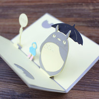 Wholesale Handmade 3d Decorations - Totoro postcard 3D handmade pop up greeting cards cartoon gift cards for party decoration wholesale free shipping