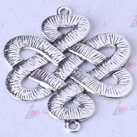 Wholesale Antique Chinese Charm Bracelet - Chinese knot connector breasted antique Silver bronze DIY Pendant Fit Bracelets Necklace Charms Zinc Alloy Jewelry 750pcs lot 157