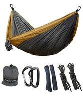 Wholesale Outdoor Canvas Camping Tents - Potable Parachute 2 people Canvas Nylon Hammock Outdoor hiking camping traveling 118 * 78 inch  300*200CM ,Lightweight and Gray
