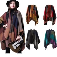 Wholesale cashmere knitted shawl wraps - Women Scarf Wrap Shawl Blanket Cloak 130*155CM Patchwork Plaid Cashmere Poncho Cape Lady Knit Shawl Cape 18 Colors OOA2906