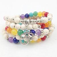 Wholesale Turquoise Bead Strand Necklace - SN0200 2016 New Design 8mm White Turquoise 108 Mala Chakra Beads Bracelet 4 Wrap OM Charm Necklace For Women Free Shipping