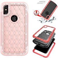 Diamond Bling Armor Hybrid PC + TPU Hybrid a prueba de golpes 3 en 1 funda para teléfono móvil Logo Out Duty Cases carcasa resistente para iPhone 8 8G X Edition