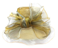 grandes bonés de abas venda por atacado-Mulheres Fascinator Big Bowknot Oranza Gauze Chapéu Kentucky Derby Igreja Vestido De Noite Chapéu Cocktail Party Wide Brim Nupcial Do Casamento cap Sun Hat