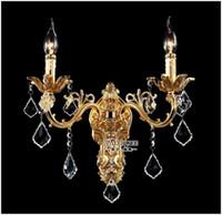 aplique al por mayor-Venta al por mayor de cristal de oro aplique de pared de plata apliques de pared de cristal de la pared soportes de la lámpara envío gratis