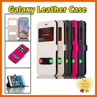 Wholesale Note Flip Battery Cover - Samsung Galaxy Leather Flip Window Phone Case Cover for Galaxy Note7 S6 S7 Edge Plus Note 4 Note 5