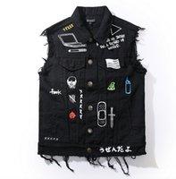 ingrosso maglia del mens del denim-Di alta qualità di nuovo modo moto uomo gilet gilet punk hip hop jeans mens gilet di jeans giacca designer cappotto gotico senza maniche