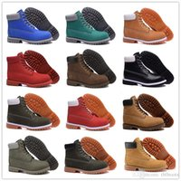 Wholesale Clear Red Rainboots - 2016 Hot Sale All Color Classic 10061 Boots Women Men's for Top quality Wheat Authentic Leather Fashion Outdoor Waterproof Work Shoe 36