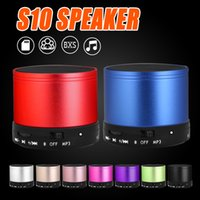 Wholesale Box Mp3 Card - S10 Bluetooth Speaker Outdoor Speakers Handfree Mic Stereo Portable Speakers TF Card Call Function DHL Free Shipping No Logo In Retail Box