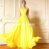 Wholesale Embroidered Dress Pearls - Yellow Custom Made Fashion Zuhair Murad New Long Chiffon evening dress V-Neck A-Line Sleeveless Floor-Length Pleating Prom Gowns