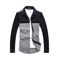 Wholesale Polka Dot Shirts For Men - Wholesale-Summer fashion 2016 polka dot patchwork long sleeve cotton shirts for men Casual dress men shirts Camisa social maculina men45