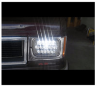 Wholesale H4 Diamond - DOT approved 2 PCS Black 7x6 45W Led Headlight Conversions 15 Chip Sealed beam to H4 harness Clear diamond cree