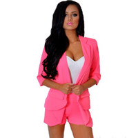 Regular blazer cute - 2017 New Fashion Women Elegant Blazer Suit MKY KF344 Ladies Elegant Cute Clothing Short And Top Set