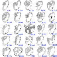 sevimli nişan yüzükleri toptan satış-Mix Sipariş Bayanlar Moda Zirkon Alyans Kaplama 925 Gümüş Kadınlar için CZ Elmas Göz Kamaştırıcı Yüzükler Nişan Sevimli Pretty Kalp Aşk Yüzük