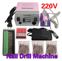 Wholesale Pink Electric Nail Drill Machine - 30000 RPM Electric Nail Art Pro Salon Drill Manicure Pedicure Machine Glazing Tool Kit Set High Quality