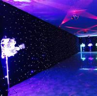 telones de fondo de iluminación led al por mayor-3mx6m LED Cortina de fiesta de boda LED Star Cloth Telón de fondo negro de escenario LED Star Cloth Cortina Luz Decoración de la boda DMX512 Iluminación de escenario
