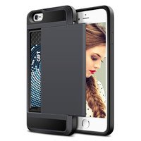 Wholesale bumper case for 4s - Wholesale manufacturers Rubber Bumper Slide Wallet Card Slot Heavy Duty Shockproof Protection Case cover For iPhone 4 4s case