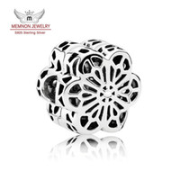 Wholesale diy resale online - Spring Collection Silver Floral Daisy Lace Charms Beads sterling silver clip bead fit S925 bracelets bangles DIY For Women fine Jewelry