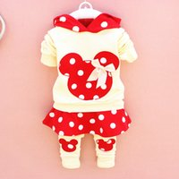 Wholesale Legging Skirt Sets - 2015 cute baby girls outfits babies clothes dots bow spring newborn baby 2pcs set children cotton suit hooded+legging skirts child outwear