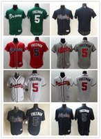Wholesale Cheap Baseball Uniform - 2016 Cheap Men #5 Freddie Freeman Jersey Embroidery Logos Atlanta Braves Flexbase Baseball Shirt Uniform Best Quality Size M-XXXL