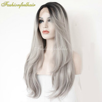 Wholesale Human Wigs For White Women - 2016 New Ombre Lace Front Wig 1B Grey Lace Front Wig Natural Human Silver Grey Peruvian Hair Wigs For Black White Women