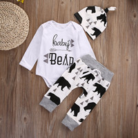 Wholesale Kid Clothing Logo - hot sale 3PCS kids Set 2016 Newborn Baby Girls Boy Tops Romper +Long Pants+Hat Outfits animal logo printed Clothes cotton Set free shipping