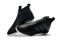 Wholesale Messi Football Boots - Black Color Messi ORiginal ACE Tango 17+ Purecontrol 35-45 Kids Soccer Cleats TF IC Children Football Boots Womens Messi Indoor Soccer Shoes