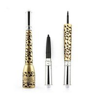 Wholesale Thick Easy Wholesale - New Fashion Makeup Eye One Pc Leopard Shell Thick Black Eyeliner Liquid Makeup Cosmetic Waterproof Long lasting Eyeliner pen