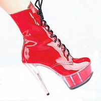 Wholesale High Ankle Boots Price - fashion 6 inch high heels classic zip strappy ankle boots low price 15cm Platforms short boots red High-heeled shoes