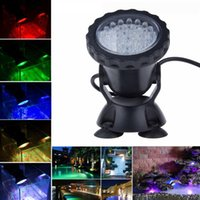 Wholesale Led Underwater Fish Lights - 36 LED Submersible Underwater Light Aquarium Led Light Pond Fish Tank RGB Blue Red Yellow LED Light Waterproof Spotlight Landscape Lamp