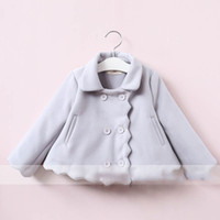 Wholesale Double Breasted Jacket Baby - Everweekend Girls Wave Double-breasted Jacket Cute Baby Gray and Beige Color Coat Lovely Kids Western Fashion Autumn Outerwear