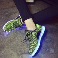 Wholesale Cheap Show Lighting - 350 BOOST Unisex Led Light Up Shoes USB Cable Charging Luminous Sneakers Fashion Night Lighting Shoes for Showing Cool Sneakers Cheap 30