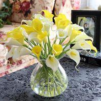 hochzeit sträuße sets großhandel-10 bouquet = 1 set PU mini Künstliche Calla Lily Blume echt touch blume 10 farbe Hochzeit Brautstrauß Home Party Decor calla