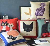 Wholesale Set Covers For Sofa Cushions - Free Shipping! Lovely Cat Set Linen Cushion Cover  Pillow Cover  pillows for sofa  Decorative cushion 45CX45CM 5pcs lot