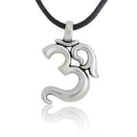 om ohm aum venda por atacado-Retro prata yoga aum om ohm sânscrito pingente de colar de couro homens jóias, 18 polegadas